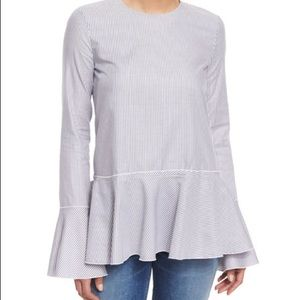 Theory Grey and White Bell Sleeve Blouse